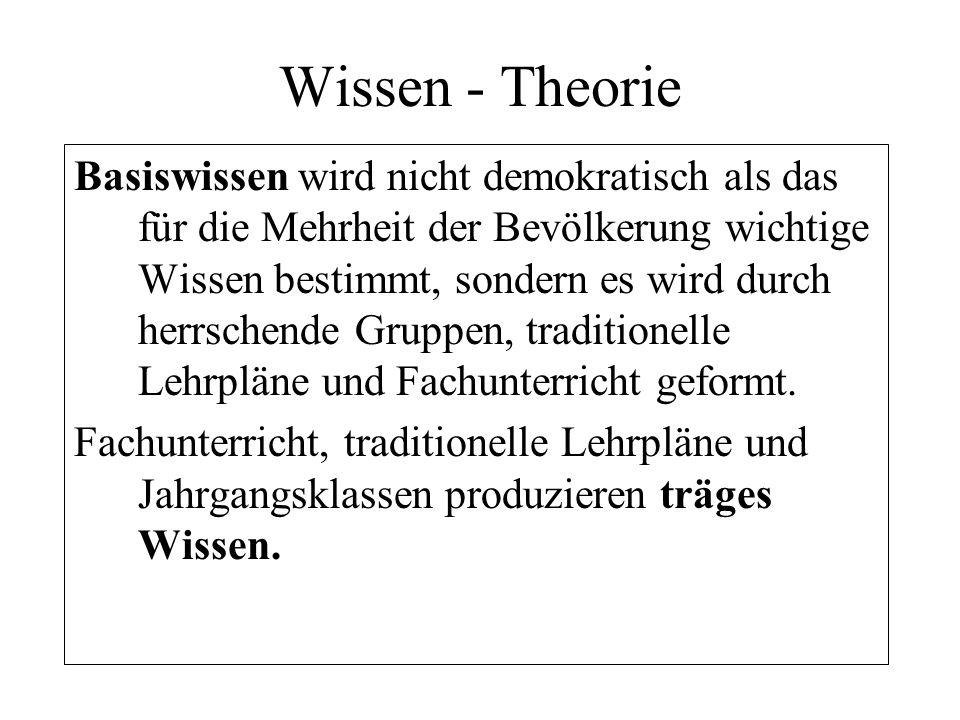 Wissen - Theorie Basiswissen wird nicht demokratisch als das für die Mehrheit der Bevölkerung wichtige Wissen bestimmt, sondern es wird durch herrsche