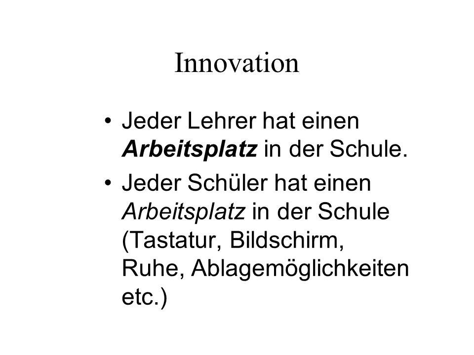 Innovation Jeder Lehrer hat einen Arbeitsplatz in der Schule. Jeder Schüler hat einen Arbeitsplatz in der Schule (Tastatur, Bildschirm, Ruhe, Ablagemö