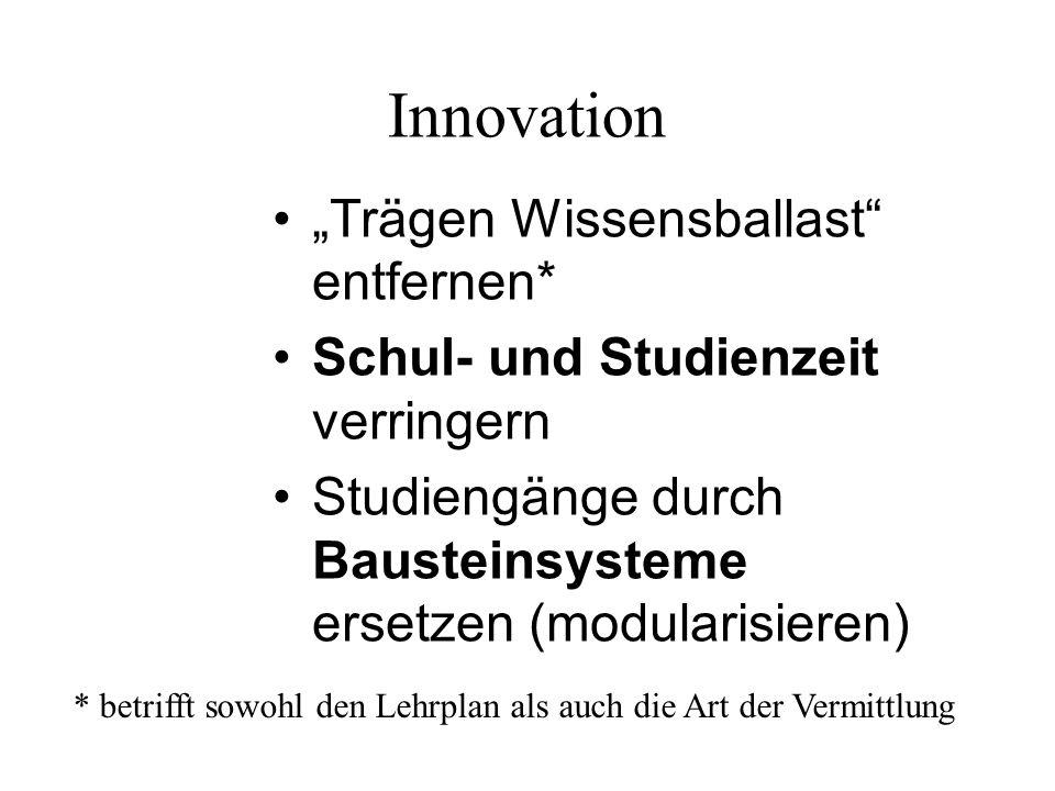 Innovation Trägen Wissensballast entfernen* Schul- und Studienzeit verringern Studiengänge durch Bausteinsysteme ersetzen (modularisieren) * betrifft