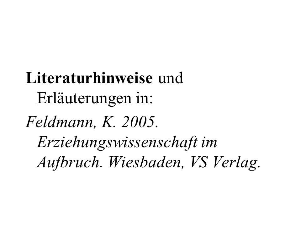 Literaturhinweise und Erläuterungen in: Feldmann, K. 2005. Erziehungswissenschaft im Aufbruch. Wiesbaden, VS Verlag.