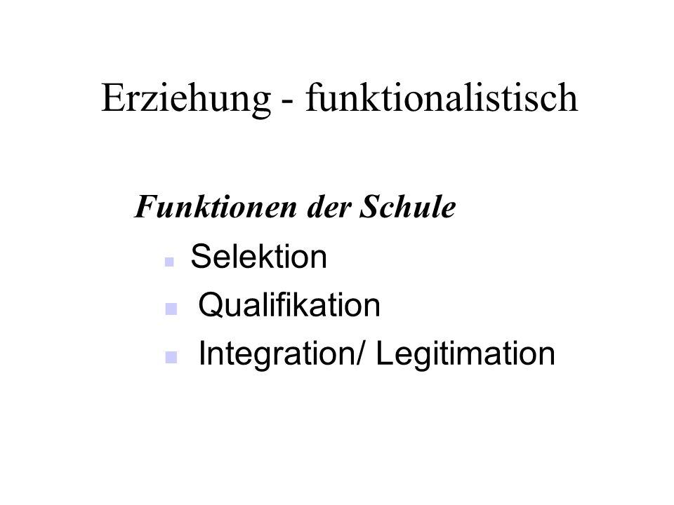 Erziehung - funktionalistisch Funktionen der Schule Selektion Qualifikation Integration/ Legitimation