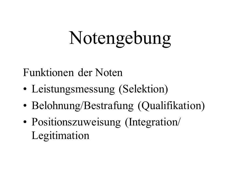 Notengebung Funktionen der Noten Leistungsmessung (Selektion) Belohnung/Bestrafung (Qualifikation) Positionszuweisung (Integration/ Legitimation
