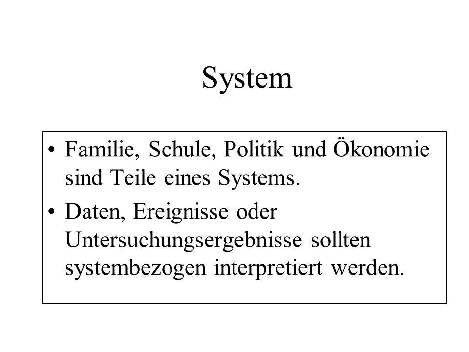 System Familie, Schule, Politik und Ökonomie sind Teile eines Systems. Daten, Ereignisse oder Untersuchungsergebnisse sollten systembezogen interpreti