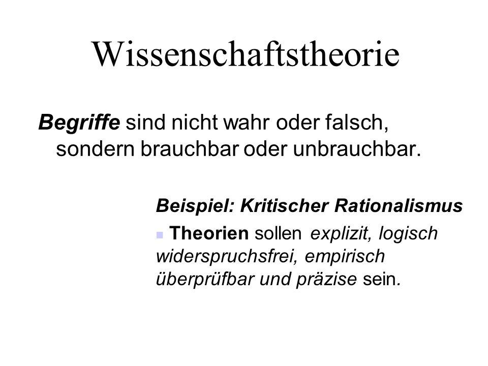Wissenschaftstheorie Begriffe sind nicht wahr oder falsch, sondern brauchbar oder unbrauchbar. Beispiel: Kritischer Rationalismus Theorien sollen expl