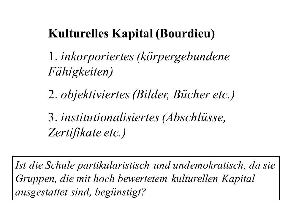 Kulturelles Kapital (Bourdieu) 1. inkorporiertes (körpergebundene Fähigkeiten) 2. objektiviertes (Bilder, Bücher etc.) 3. institutionalisiertes (Absch