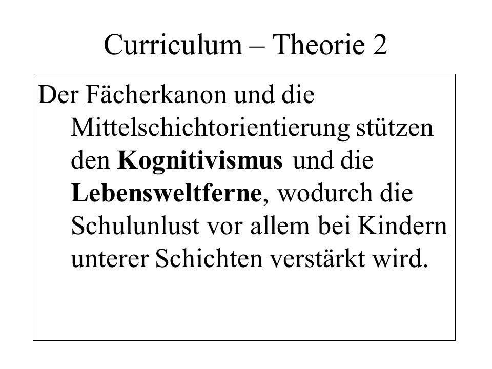 Curriculum – Theorie 2 Der Fächerkanon und die Mittelschichtorientierung stützen den Kognitivismus und die Lebensweltferne, wodurch die Schulunlust vo
