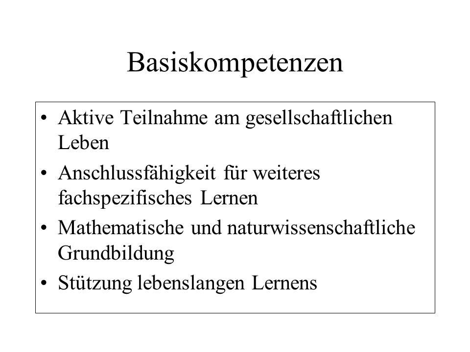 Basiskompetenzen Aktive Teilnahme am gesellschaftlichen Leben Anschlussfähigkeit für weiteres fachspezifisches Lernen Mathematische und naturwissensch