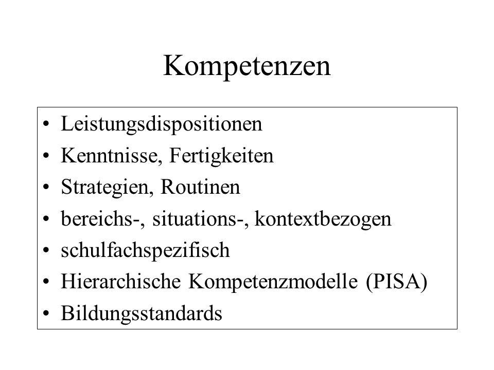 Kompetenzen Leistungsdispositionen Kenntnisse, Fertigkeiten Strategien, Routinen bereichs-, situations-, kontextbezogen schulfachspezifisch Hierarchis