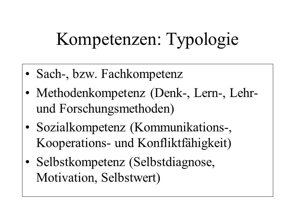 Kompetenzen: Typologie Sach-, bzw. Fachkompetenz Methodenkompetenz (Denk-, Lern-, Lehr- und Forschungsmethoden) Sozialkompetenz (Kommunikations-, Koop