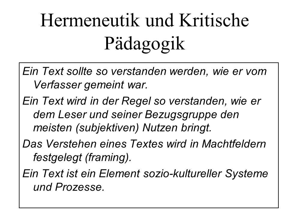 Hermeneutik und Kritische Pädagogik Ein Text sollte so verstanden werden, wie er vom Verfasser gemeint war. Ein Text wird in der Regel so verstanden,