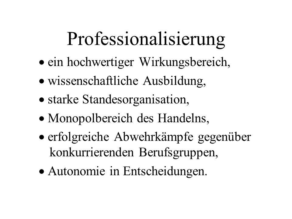 Professionalisierung ein hochwertiger Wirkungsbereich, wissenschaftliche Ausbildung, starke Standesorganisation, Monopolbereich des Handelns, erfolgre