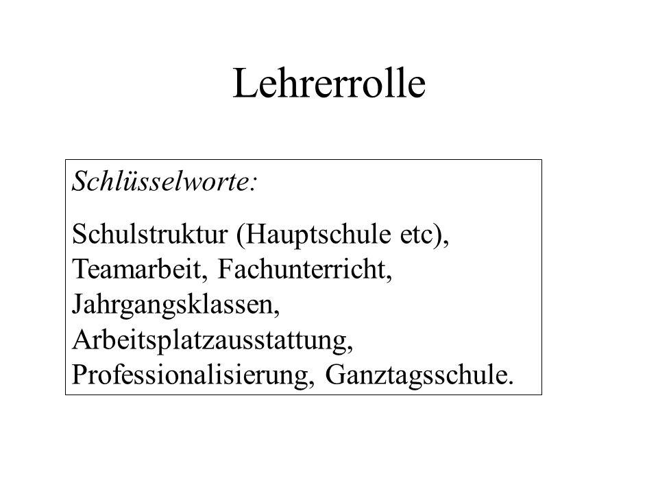 Lehrerrolle Schlüsselworte: Schulstruktur (Hauptschule etc), Teamarbeit, Fachunterricht, Jahrgangsklassen, Arbeitsplatzausstattung, Professionalisieru