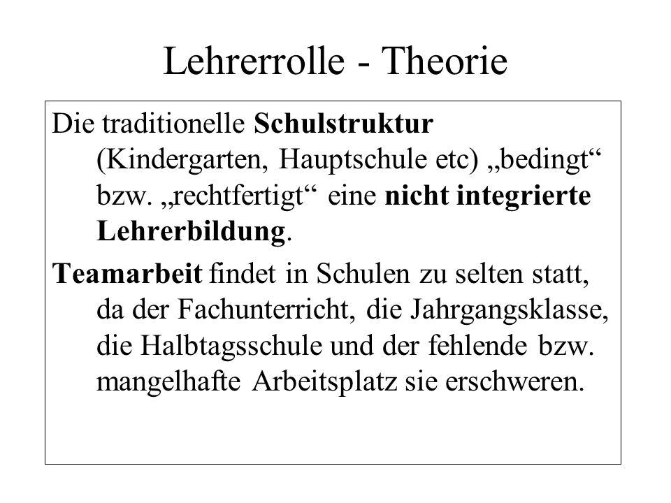 Lehrerrolle - Theorie Die traditionelle Schulstruktur (Kindergarten, Hauptschule etc) bedingt bzw. rechtfertigt eine nicht integrierte Lehrerbildung.