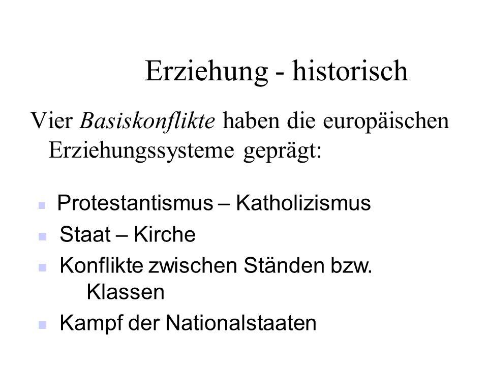 Erziehung - historisch Vier Basiskonflikte haben die europäischen Erziehungssysteme geprägt: Protestantismus – Katholizismus Staat – Kirche Konflikte
