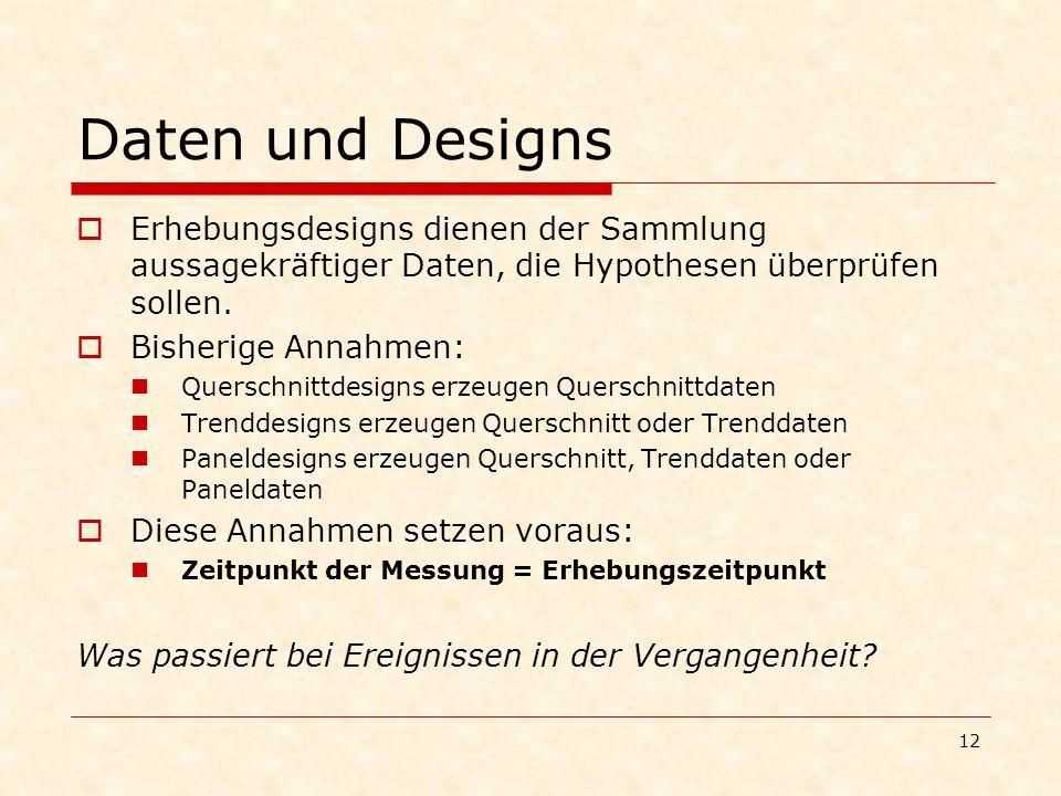 12 Daten und Designs Erhebungsdesigns dienen der Sammlung aussagekräftiger Daten, die Hypothesen überprüfen sollen. Bisherige Annahmen: Querschnittdes