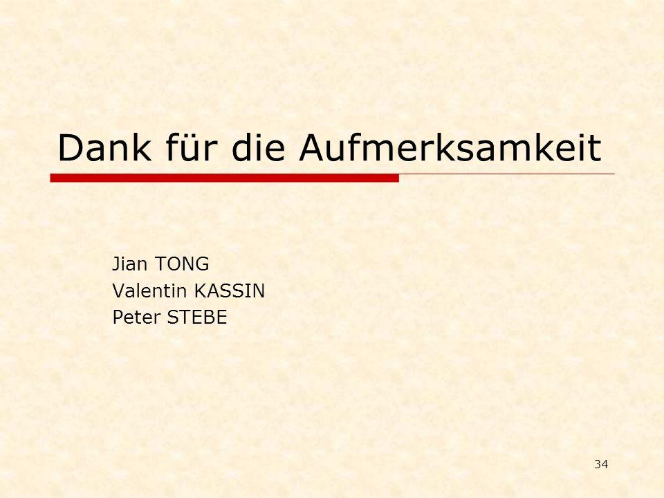34 Dank für die Aufmerksamkeit Jian TONG Valentin KASSIN Peter STEBE
