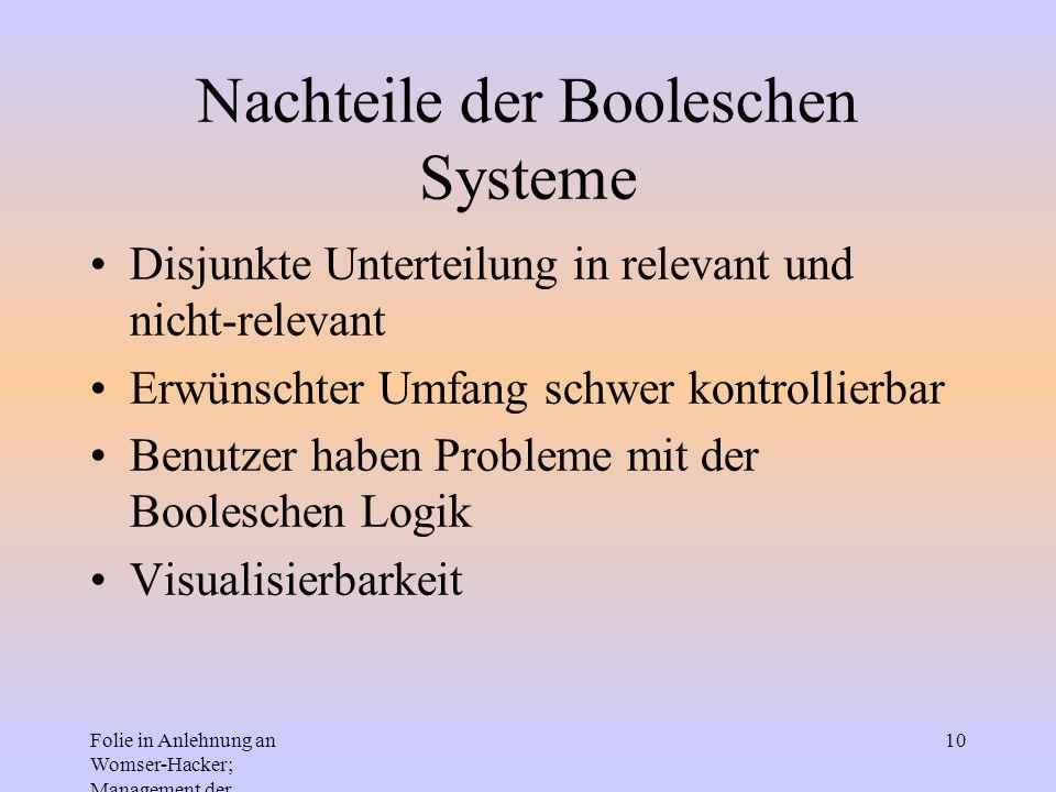 Folie in Anlehnung an Womser-Hacker; Management der Informationssysteme 10 Nachteile der Booleschen Systeme Disjunkte Unterteilung in relevant und nic