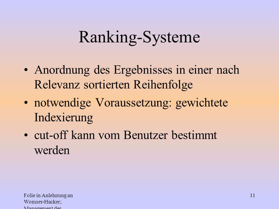 Folie in Anlehnung an Womser-Hacker; Management der Informationssysteme 11 Ranking-Systeme Anordnung des Ergebnisses in einer nach Relevanz sortierten