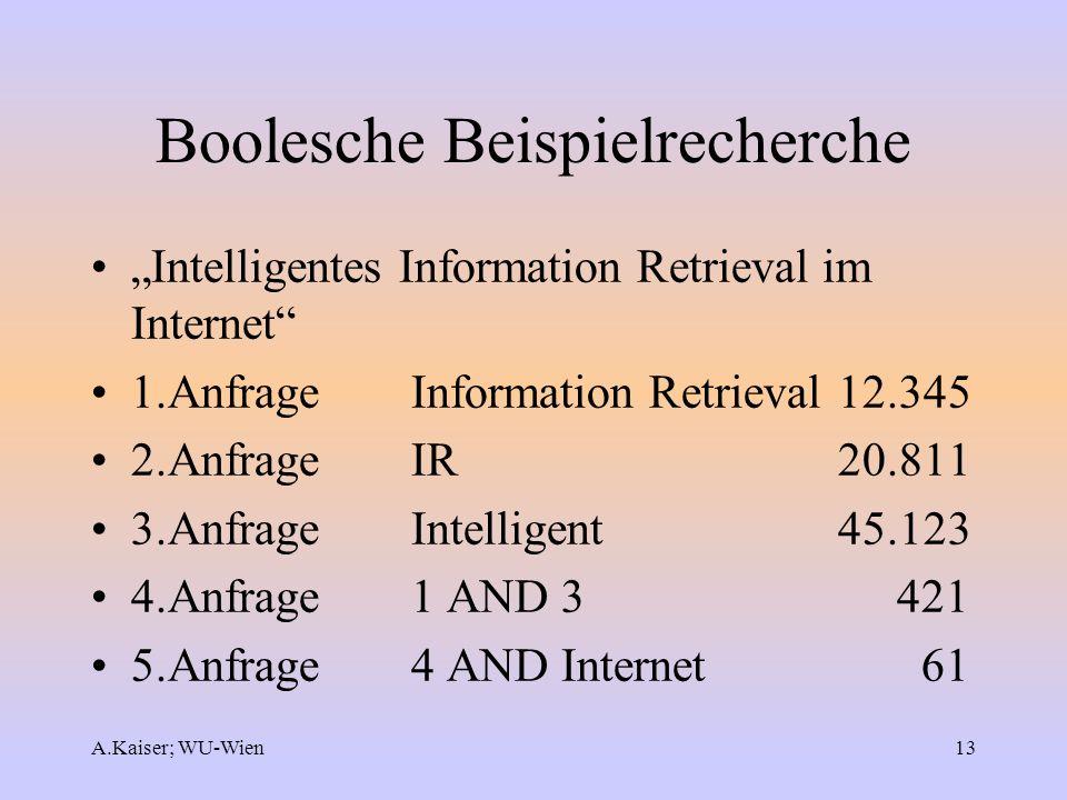 A.Kaiser; WU-Wien13 Boolesche Beispielrecherche Intelligentes Information Retrieval im Internet 1.AnfrageInformation Retrieval 12.345 2.Anfrage IR 20.