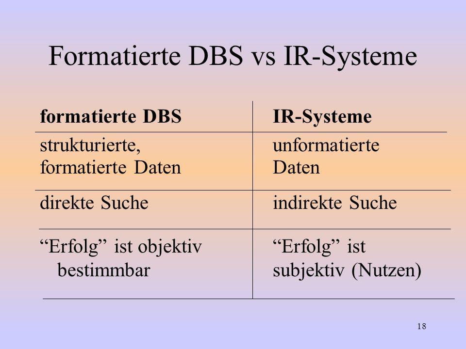 18 Formatierte DBS vs IR-Systeme formatierte DBSIR-Systeme strukturierte,unformatierte formatierte DatenDaten direkte Sucheindirekte Suche Erfolg ist