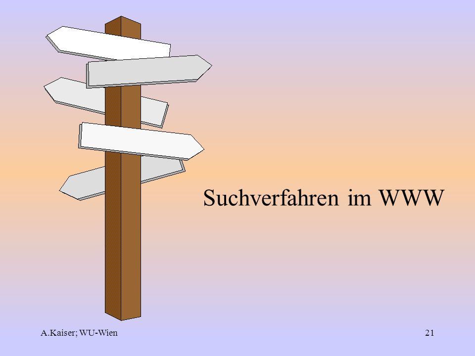 A.Kaiser; WU-Wien21 Suchverfahren im WWW