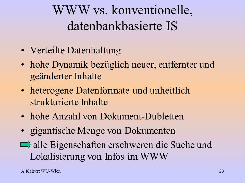 A.Kaiser; WU-Wien23 WWW vs. konventionelle, datenbankbasierte IS Verteilte Datenhaltung hohe Dynamik bezüglich neuer, entfernter und geänderter Inhalt