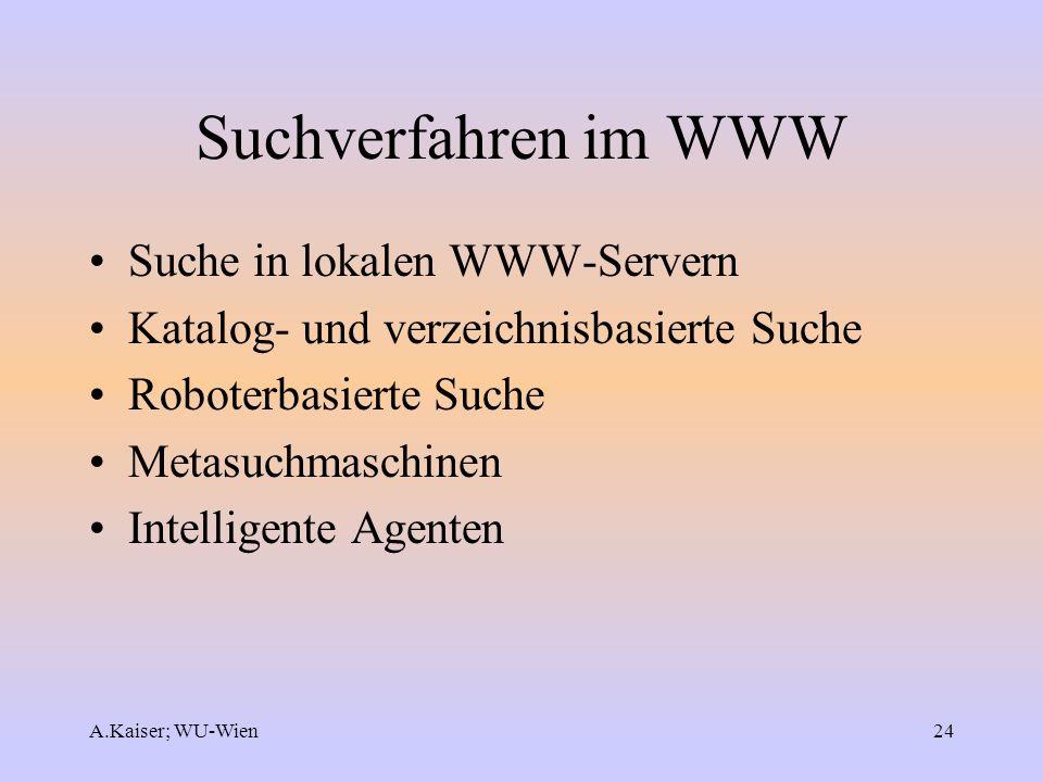 A.Kaiser; WU-Wien24 Suchverfahren im WWW Suche in lokalen WWW-Servern Katalog- und verzeichnisbasierte Suche Roboterbasierte Suche Metasuchmaschinen I
