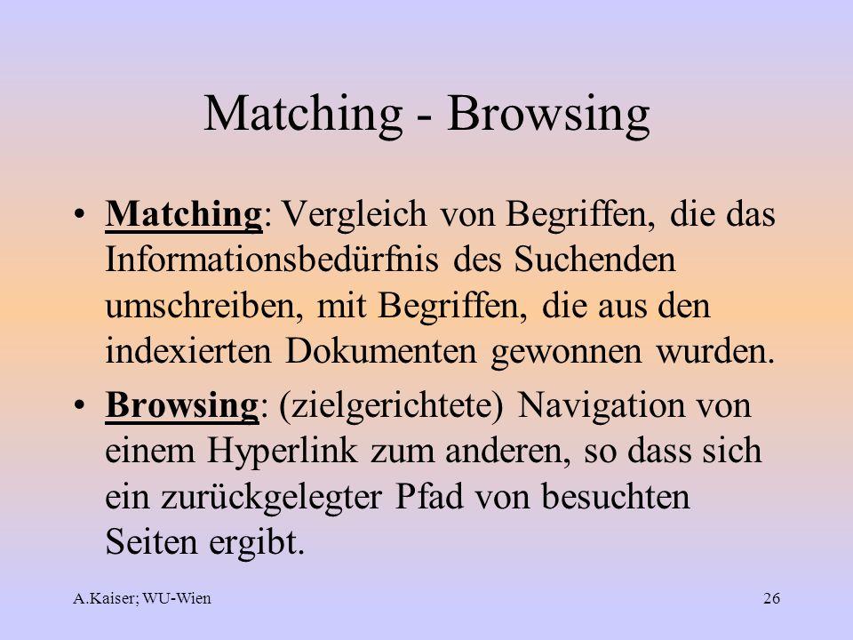 A.Kaiser; WU-Wien26 Matching - Browsing Matching: Vergleich von Begriffen, die das Informationsbedürfnis des Suchenden umschreiben, mit Begriffen, die