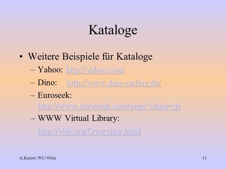 A.Kaiser; WU-Wien31 Kataloge