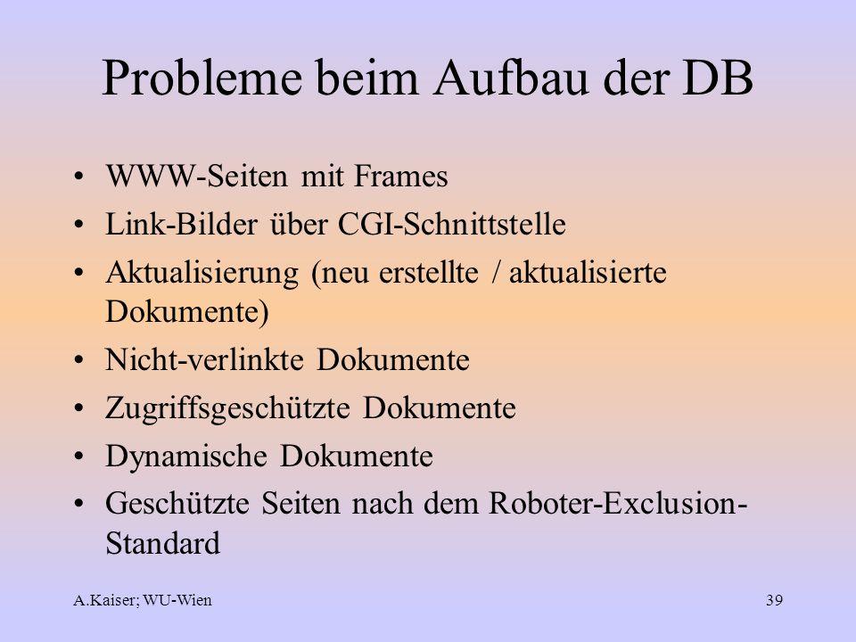A.Kaiser; WU-Wien39 Probleme beim Aufbau der DB WWW-Seiten mit Frames Link-Bilder über CGI-Schnittstelle Aktualisierung (neu erstellte / aktualisierte