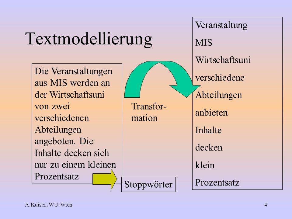 A.Kaiser; WU-Wien4 Textmodellierung Die Veranstaltungen aus MIS werden an der Wirtschaftsuni von zwei verschiedenen Abteilungen angeboten. Die Inhalte