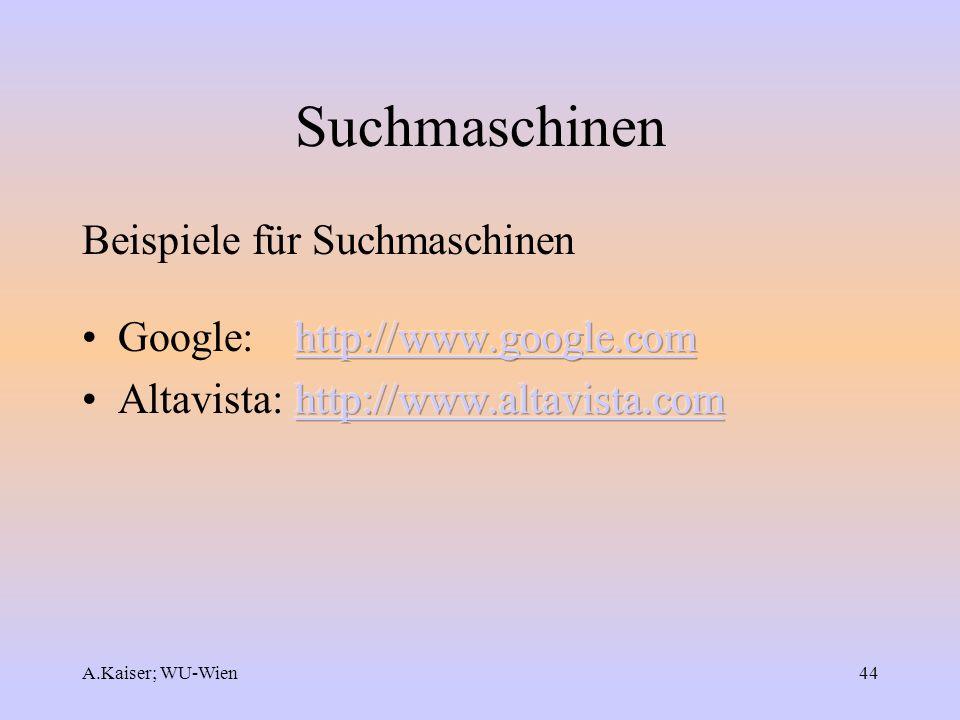 A.Kaiser; WU-Wien44 Suchmaschinen