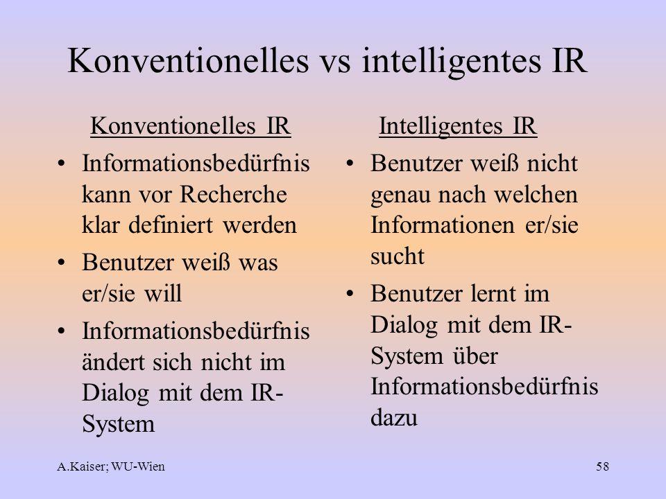 A.Kaiser; WU-Wien58 Konventionelles vs intelligentes IR Konventionelles IR Informationsbedürfnis kann vor Recherche klar definiert werden Benutzer wei