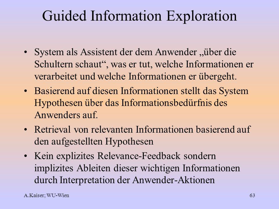 A.Kaiser; WU-Wien63 Guided Information Exploration System als Assistent der dem Anwender über die Schultern schaut, was er tut, welche Informationen e