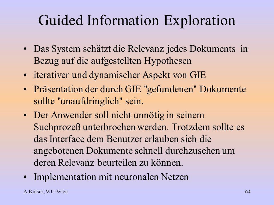 A.Kaiser; WU-Wien64 Guided Information Exploration Das System schätzt die Relevanz jedes Dokuments in Bezug auf die aufgestellten Hypothesen iterative