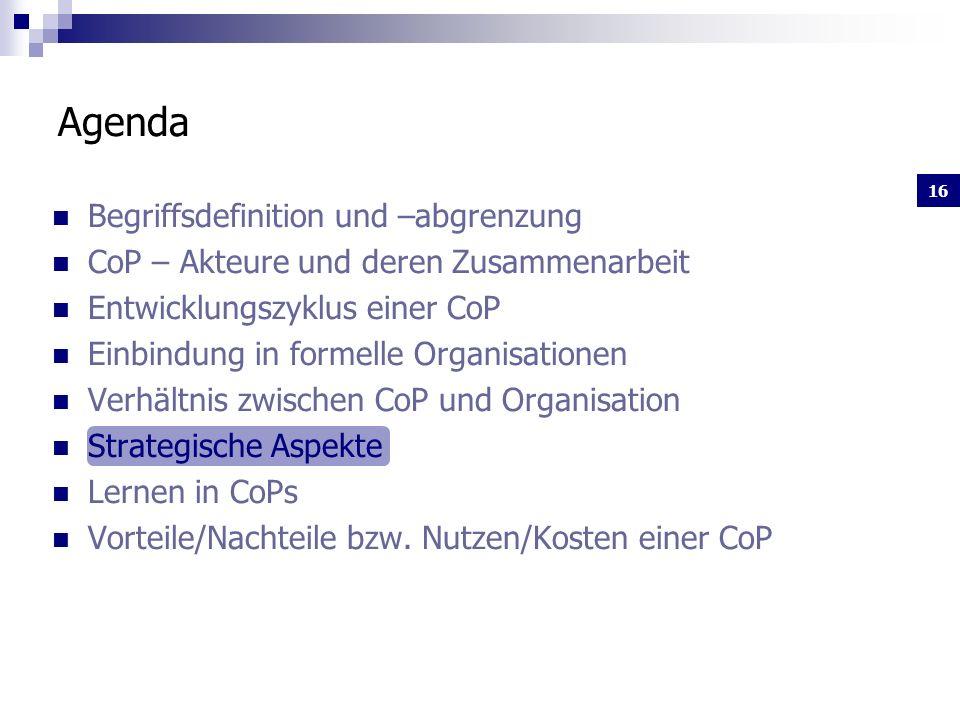 16 Begriffsdefinition und –abgrenzung CoP – Akteure und deren Zusammenarbeit Entwicklungszyklus einer CoP Einbindung in formelle Organisationen Verhältnis zwischen CoP und Organisation Strategische Aspekte Lernen in CoPs Vorteile/Nachteile bzw.