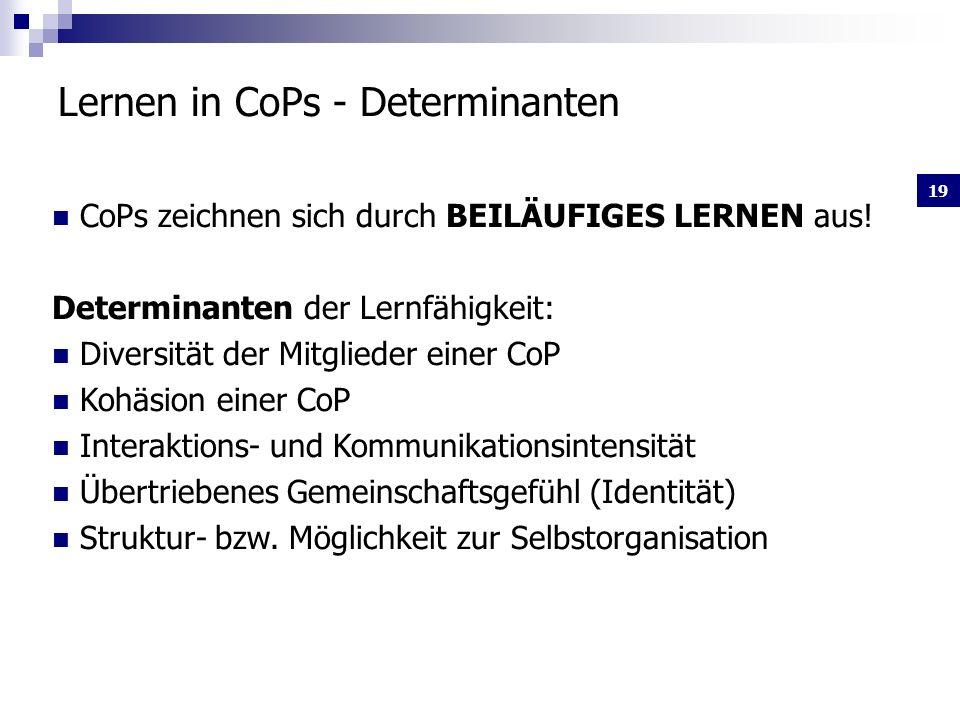 19 Lernen in CoPs - Determinanten CoPs zeichnen sich durch BEILÄUFIGES LERNEN aus.