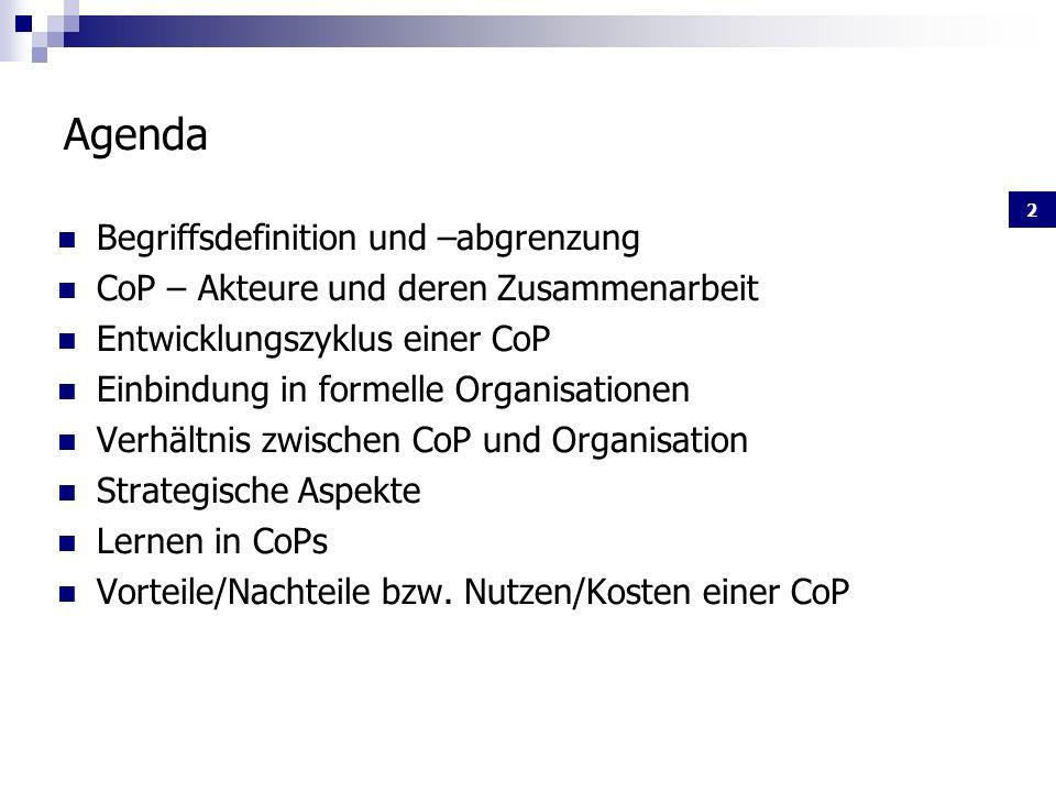 2 Agenda Begriffsdefinition und –abgrenzung CoP – Akteure und deren Zusammenarbeit Entwicklungszyklus einer CoP Einbindung in formelle Organisationen Verhältnis zwischen CoP und Organisation Strategische Aspekte Lernen in CoPs Vorteile/Nachteile bzw.