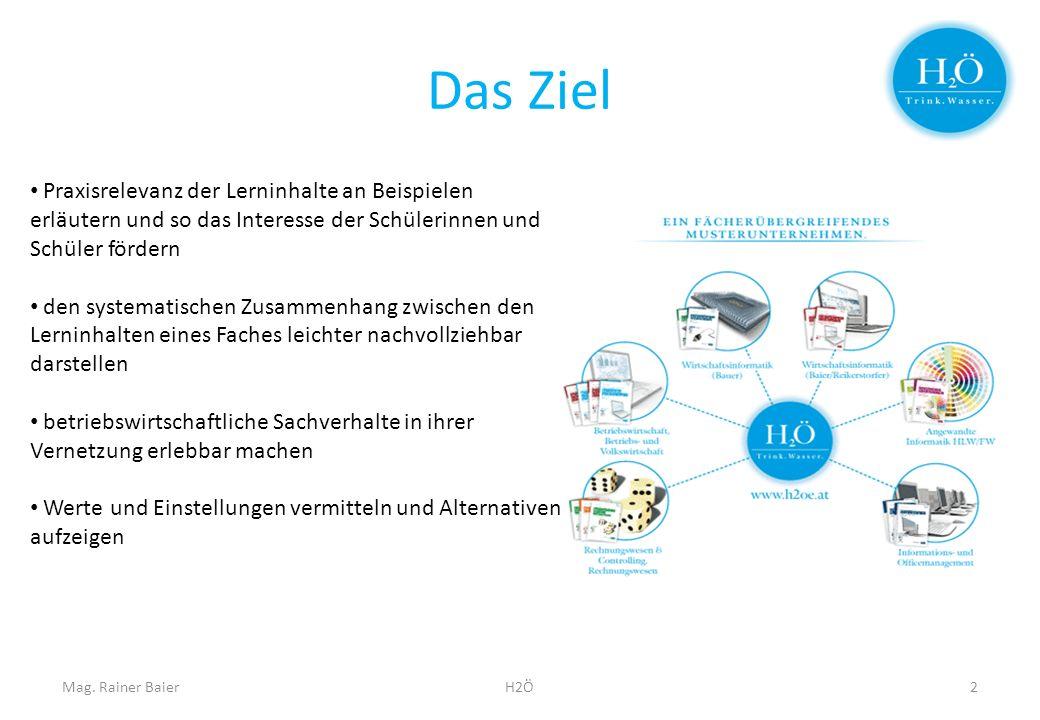 Das Ziel Mag. Rainer BaierH2Ö2 Praxisrelevanz der Lerninhalte an Beispielen erläutern und so das Interesse der Schülerinnen und Schüler fördern den sy