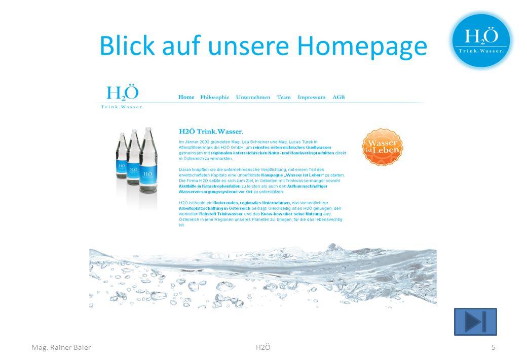 Blick auf unsere Homepage Mag. Rainer BaierH2Ö5