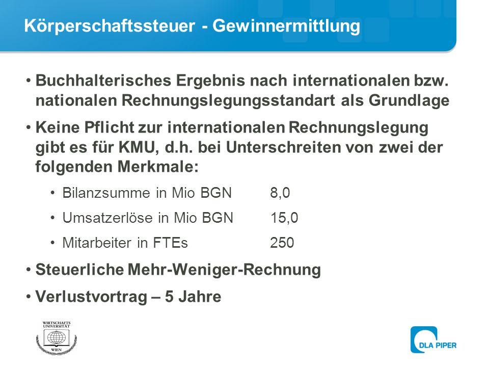 Körperschaftssteuer - Gewinnermittlung Buchhalterisches Ergebnis nach internationalen bzw.