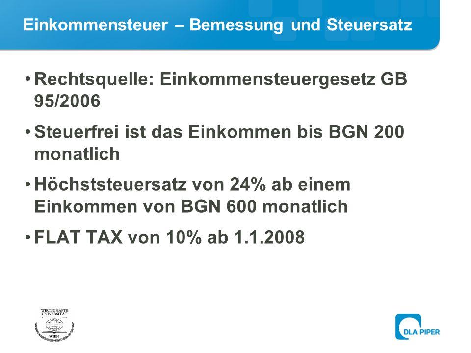 Einkommensteuer – Bemessung und Steuersatz Rechtsquelle: Einkommensteuergesetz GB 95/2006 Steuerfrei ist das Einkommen bis BGN 200 monatlich Höchststeuersatz von 24% ab einem Einkommen von BGN 600 monatlich FLAT TAX von 10% ab 1.1.2008