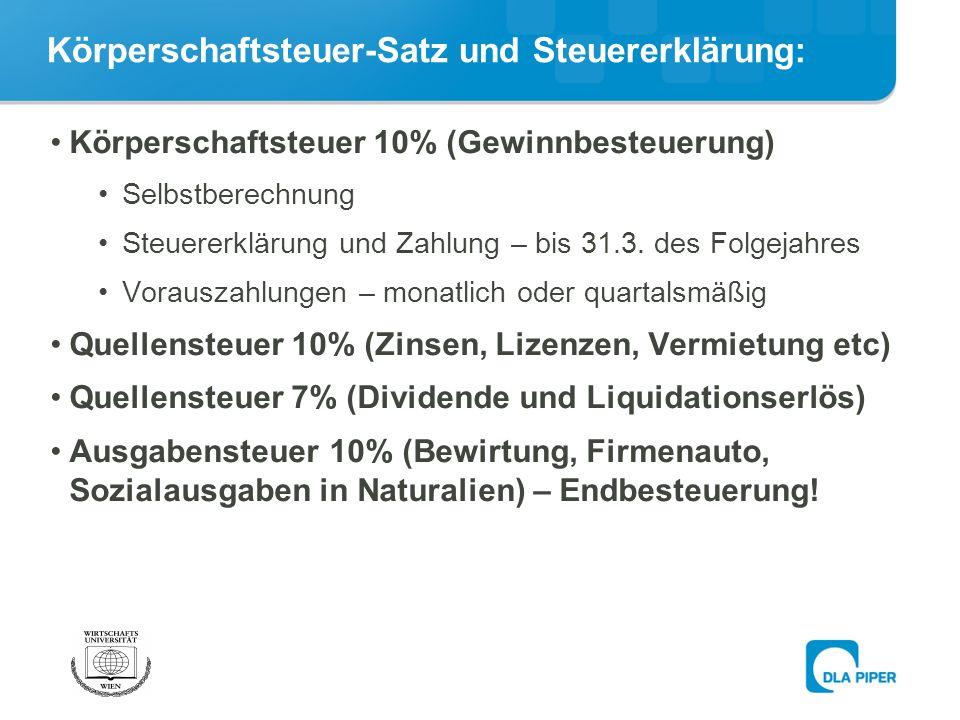 Körperschaftsteuer-Satz und Steuererklärung: Körperschaftsteuer 10% (Gewinnbesteuerung) Selbstberechnung Steuererklärung und Zahlung – bis 31.3.