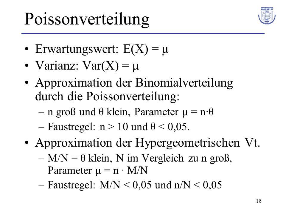 18 Poissonverteilung Erwartungswert: E(X) = μ Varianz: Var(X) = μ Approximation der Binomialverteilung durch die Poissonverteilung: –n groß und θ klei
