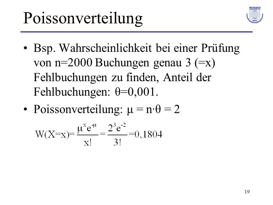 19 Poissonverteilung Bsp. Wahrscheinlichkeit bei einer Prüfung von n=2000 Buchungen genau 3 (=x) Fehlbuchungen zu finden, Anteil der Fehlbuchungen: θ=