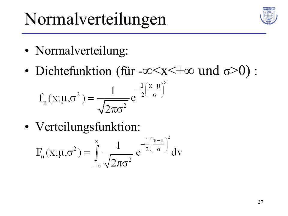 27 Normalverteilungen Normalverteilung: Dichtefunktion (für - 0) : Verteilungsfunktion: