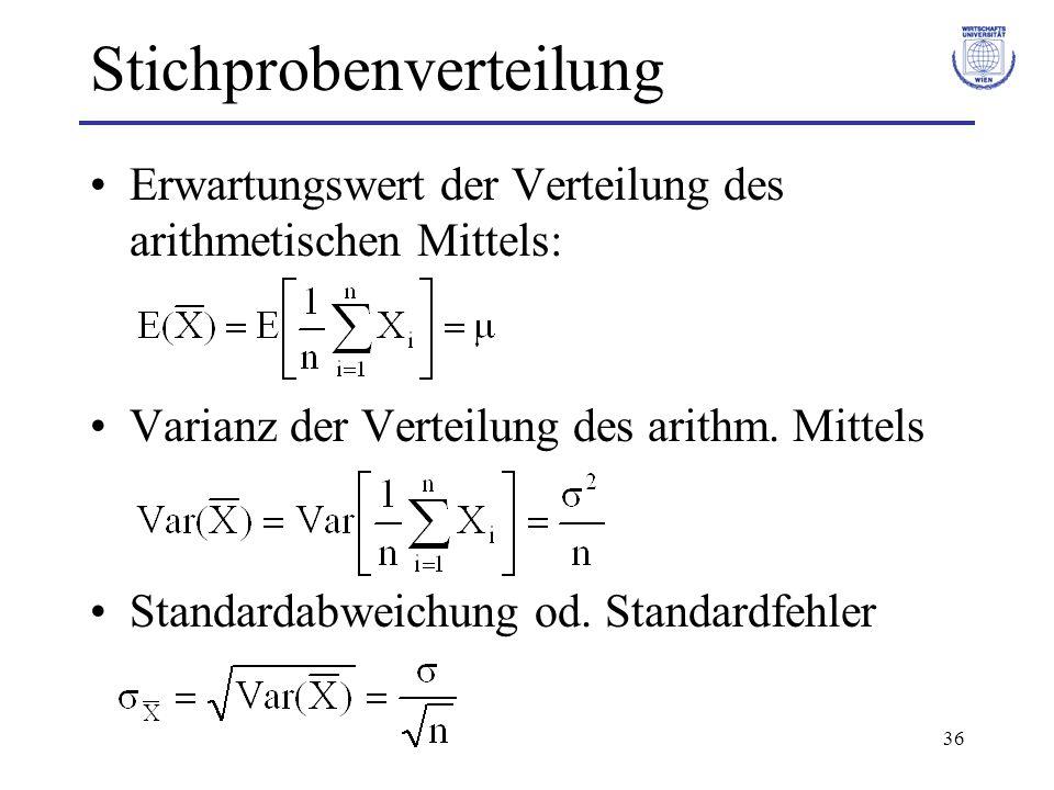 36 Stichprobenverteilung Erwartungswert der Verteilung des arithmetischen Mittels: Varianz der Verteilung des arithm. Mittels Standardabweichung od. S