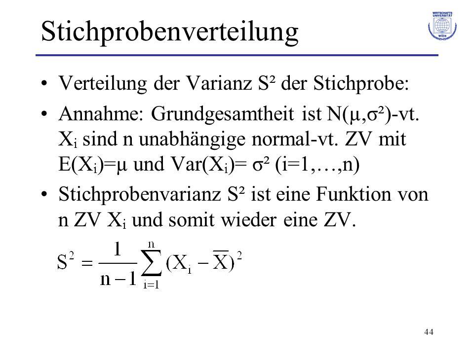 44 Stichprobenverteilung Verteilung der Varianz S² der Stichprobe: Annahme: Grundgesamtheit ist N(µ,σ²)-vt. X i sind n unabhängige normal-vt. ZV mit E