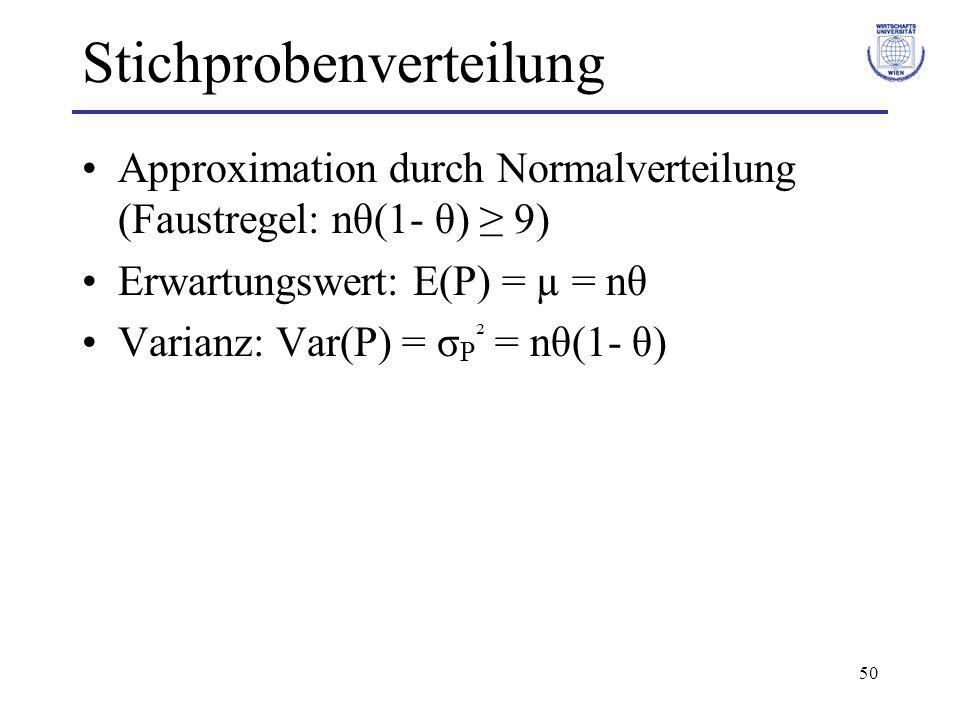 50 Stichprobenverteilung Approximation durch Normalverteilung (Faustregel: nθ(1- θ) 9) Erwartungswert: E(P) = µ = nθ Varianz: Var(P) = σ P ² = nθ(1- θ