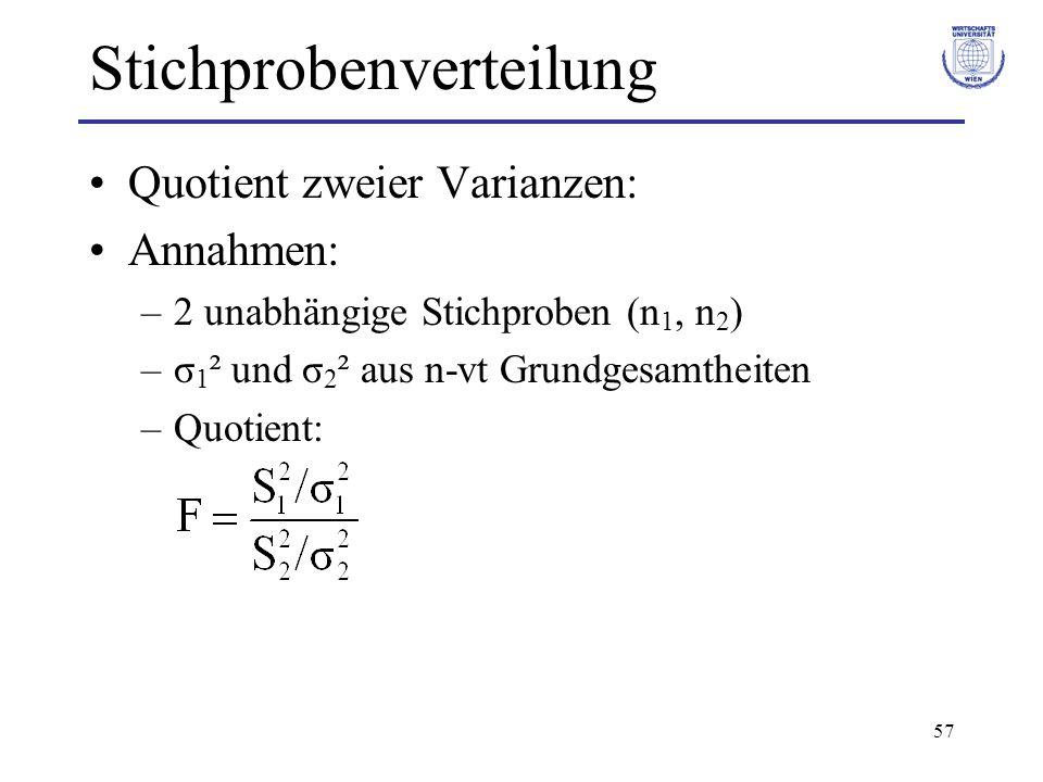 57 Stichprobenverteilung Quotient zweier Varianzen: Annahmen: –2 unabhängige Stichproben (n 1, n 2 ) –σ 1 ² und σ 2 ² aus n-vt Grundgesamtheiten –Quot
